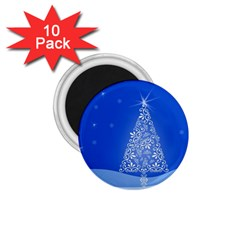 Blue White Christmas Tree 1 75  Magnets (10 Pack)  by yoursparklingshop