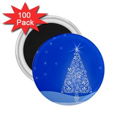 Blue White Christmas Tree 2 25  Magnets (100 Pack)  by yoursparklingshop