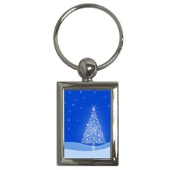 Blue White Christmas Tree Key Chains (rectangle)  by yoursparklingshop
