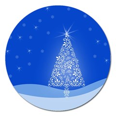 Blue White Christmas Tree Magnet 5  (round) by yoursparklingshop