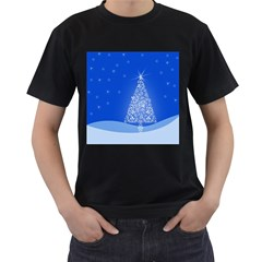 Blue White Christmas Tree Men s T Shirt (black) (two Sided) by yoursparklingshop