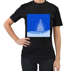 Blue White Christmas Tree Women s T Shirt (black) (two Sided) by yoursparklingshop