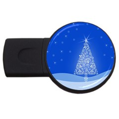 Blue White Christmas Tree Usb Flash Drive Round (4 Gb)  by yoursparklingshop