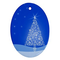 Blue White Christmas Tree Oval Ornament (two Sides) by yoursparklingshop