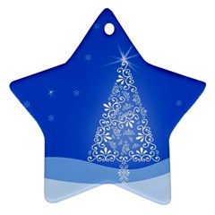 Blue White Christmas Tree Star Ornament (two Sides)  by yoursparklingshop