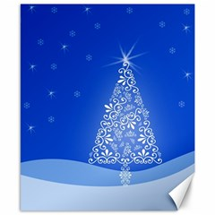 Blue White Christmas Tree Canvas 8  X 10  by yoursparklingshop
