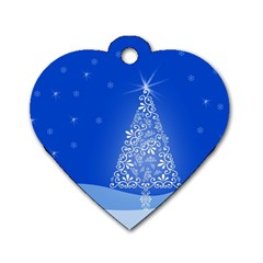 Blue White Christmas Tree Dog Tag Heart (one Side) by yoursparklingshop