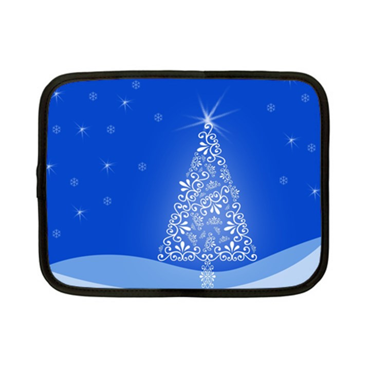 Blue White Christmas Tree Netbook Case (Small)