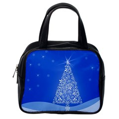 Blue White Christmas Tree Classic Handbags (one Side) by yoursparklingshop