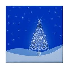Blue White Christmas Tree Face Towel by yoursparklingshop