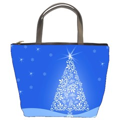 Blue White Christmas Tree Bucket Bags by yoursparklingshop