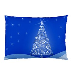 Blue White Christmas Tree Pillow Case by yoursparklingshop