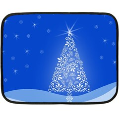 Blue White Christmas Tree Fleece Blanket (mini) by yoursparklingshop