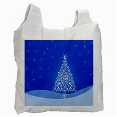 Blue White Christmas Tree Recycle Bag (one Side) by yoursparklingshop
