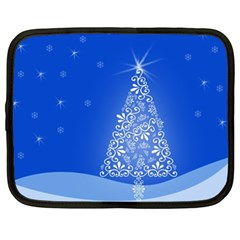 Blue White Christmas Tree Netbook Case (xl)  by yoursparklingshop