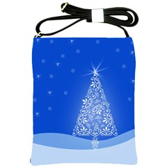 Blue White Christmas Tree Shoulder Sling Bags by yoursparklingshop
