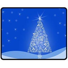 Blue White Christmas Tree Fleece Blanket (medium)  by yoursparklingshop