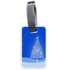 Blue White Christmas Tree Luggage Tags (one Side)  by yoursparklingshop