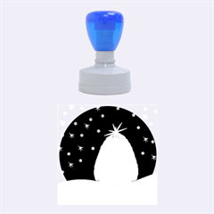 Blue White Christmas Tree Rubber Round Stamps (medium) by yoursparklingshop