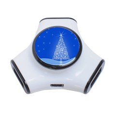 Blue White Christmas Tree 3 Port Usb Hub by yoursparklingshop