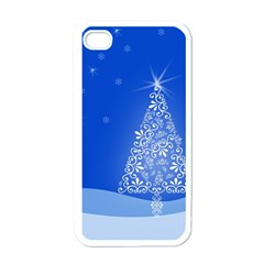 Blue White Christmas Tree Apple Iphone 4 Case (white) by yoursparklingshop