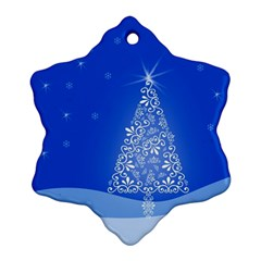 Blue White Christmas Tree Ornament (snowflake)  by yoursparklingshop