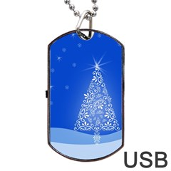 Blue White Christmas Tree Dog Tag Usb Flash (two Sides)  by yoursparklingshop