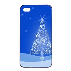 Blue White Christmas Tree Apple Iphone 4/4s Seamless Case (black) by yoursparklingshop