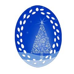 Blue White Christmas Tree Oval Filigree Ornament (2 Side)  by yoursparklingshop