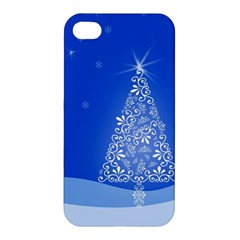 Blue White Christmas Tree Apple Iphone 4/4s Hardshell Case by yoursparklingshop