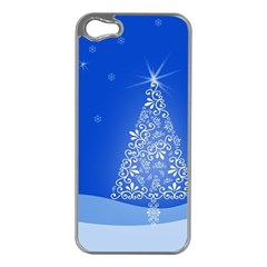 Blue White Christmas Tree Apple Iphone 5 Case (silver) by yoursparklingshop