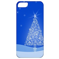 Blue White Christmas Tree Apple Iphone 5 Classic Hardshell Case by yoursparklingshop