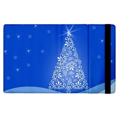 Blue White Christmas Tree Apple Ipad 2 Flip Case by yoursparklingshop