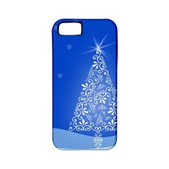 Blue White Christmas Tree Apple Iphone 5 Classic Hardshell Case (pc+silicone) by yoursparklingshop