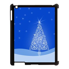 Blue White Christmas Tree Apple Ipad 3/4 Case (black) by yoursparklingshop
