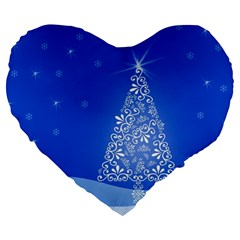 Blue White Christmas Tree Large 19  Premium Heart Shape Cushions by yoursparklingshop