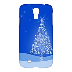 Blue White Christmas Tree Samsung Galaxy S4 I9500/i9505 Hardshell Case by yoursparklingshop