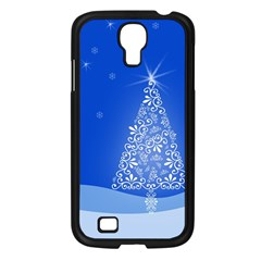 Blue White Christmas Tree Samsung Galaxy S4 I9500/ I9505 Case (black) by yoursparklingshop