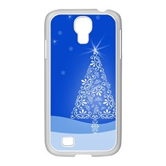 Blue White Christmas Tree Samsung Galaxy S4 I9500/ I9505 Case (white) by yoursparklingshop