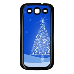 Blue White Christmas Tree Samsung Galaxy S3 Back Case (black)