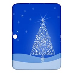Blue White Christmas Tree Samsung Galaxy Tab 3 (10 1 ) P5200 Hardshell Case  by yoursparklingshop