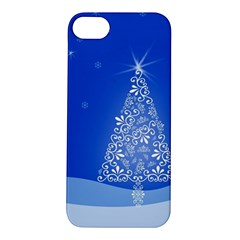 Blue White Christmas Tree Apple Iphone 5s/ Se Hardshell Case by yoursparklingshop