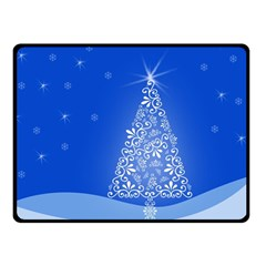 Blue White Christmas Tree Double Sided Fleece Blanket (small)  by yoursparklingshop