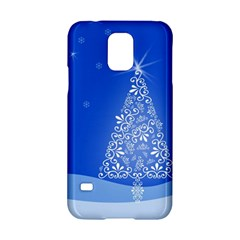 Blue White Christmas Tree Samsung Galaxy S5 Hardshell Case  by yoursparklingshop
