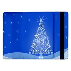 Blue White Christmas Tree Samsung Galaxy Tab Pro 12 2  Flip Case by yoursparklingshop