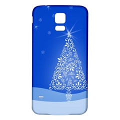 Blue White Christmas Tree Samsung Galaxy S5 Back Case (white) by yoursparklingshop