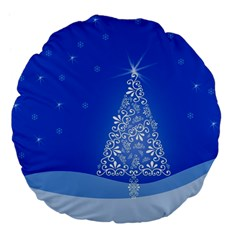 Blue White Christmas Tree Large 18  Premium Flano Round Cushions by yoursparklingshop