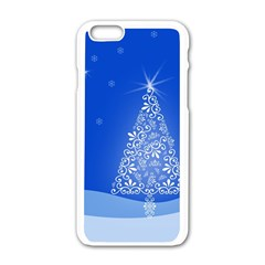 Blue White Christmas Tree Apple Iphone 6/6s White Enamel Case by yoursparklingshop