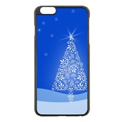 Blue White Christmas Tree Apple Iphone 6 Plus/6s Plus Black Enamel Case by yoursparklingshop