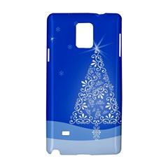 Blue White Christmas Tree Samsung Galaxy Note 4 Hardshell Case by yoursparklingshop